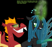 Chrysalis feeding off Garble's love by Nukarulesthehouse1