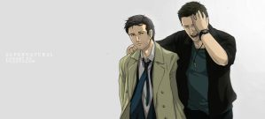 Supernatural- Dean and Castiel by Nazgullow