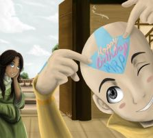 Birthday cake on Aang's head by lightskin