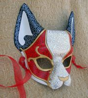 Red Venetian Cat Mask by merimask