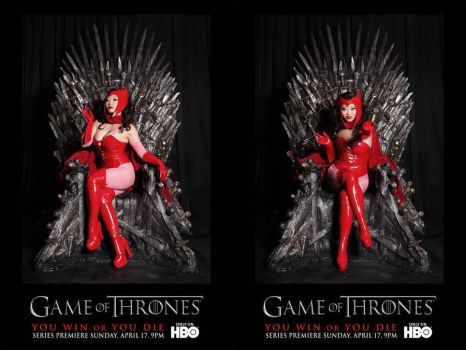 Scarlet Witch on Iron Throne by yayacosplay