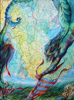 Merpeople on a map - AP  Art Breadth by GraveyardBat