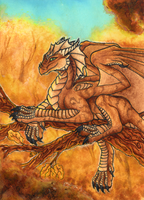 ACEO/ATC: Gold Autumn by Samantha-dragon