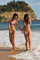 Tara and Justine - beach walk 2 by wildplaces