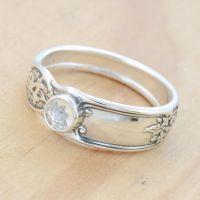 Spoon Ring with White Topaz by metalsmitten