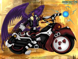 Beelzemon BM riding Behemoth by Digimon-FR