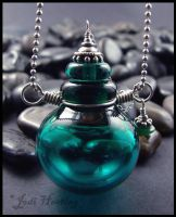 Delphin - Lampwork Glass Bottle Pendant by andromeda