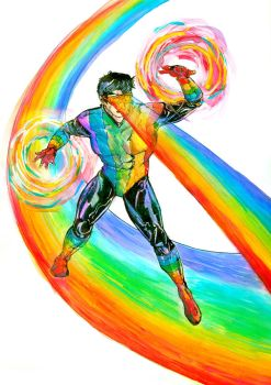 Rainbow Raider - watercolor experiment by Waterwindow