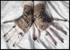 Dryope Lace Fingerless Gloves by ZenAndCoffee