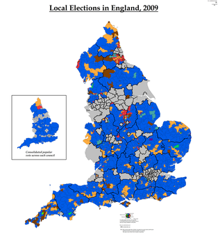 Local Elections in England, 2009 (Simplified) by AJRElectionMaps