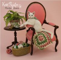 Miniature 1:12 Cat sculpture called Angel?! by Pajutee