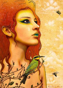Rainbow Bee Eater + Fairy Art by enchantedgal