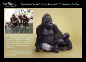 WIP Miniature Gorilla sculpts by Pajutee