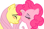 Fluttershy and Pinkie Pie: sweet kiss by KennyKlent
