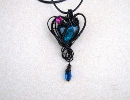 Turquoise lampwork glass heart pendant by IanirasArtifacts