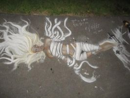 Street Chalking by the park v2 by Cycrone