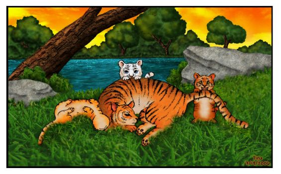 Caution: Tigers At Play by Kittensoft