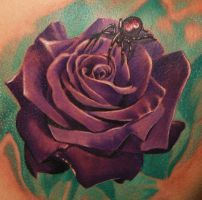 rose and spider tattoo by Remistattoo