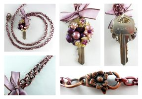 Victorian Plum Vintage Key Necklace by DryGulchJewelry