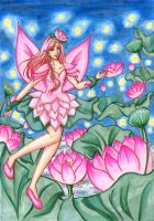 Commission - Pink Lotus Fairy by Tamao