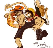 Art Trade- Ace+Luffy by olafpriol