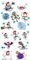 Sarah Wario Power-Ups (COLORED) by DrCaptPepperGirl