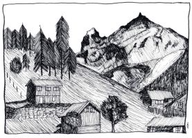 Mountain Village by alansdraw