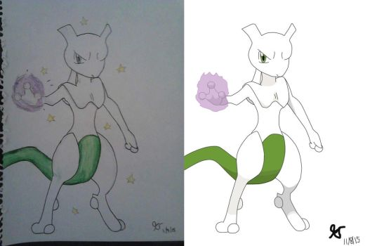 Shiny Mewtwo Drawn By Memory by ThatCharizardGuy
