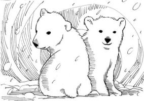 Christmas-y ice bear cubs from the gates of hell by Dragonbaze