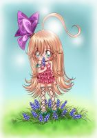 chibi girl and flowers...color by sureya