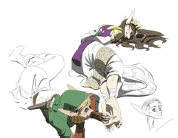 Link Tickles Zelda Coloring Process by PawFeather