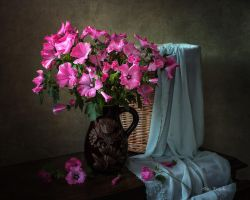 Still life with pink hollyhocks by Daykiney