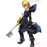 Roxas, The Keyblade Wielder Lineart Colored!~ by Ikuzram021
