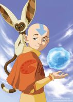 Avatar Card - Aang and Momo by giovannag