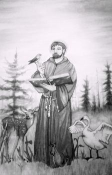 St. Francis of Assisi (black and white) by AquarelleSplash