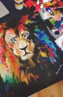 COLOR EXPLOSION LION by DesireeMaeArt