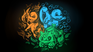 Kanto Starters Wallpaper by Togechu
