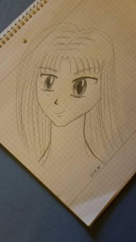 First try drawing a manga face... by MercuryDelilah