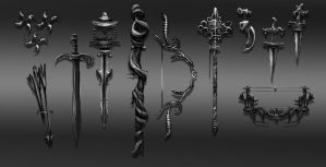 Weapons by elufie