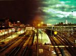 Groningen station night to day by Fruitmixer