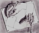 Escher's drawing hands by Raquel-HM