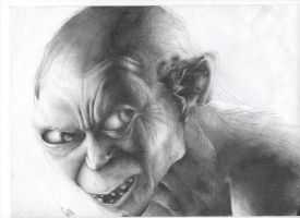 gollum shaded drawing by gill1995
