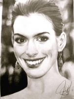 Anne Hathaway Portrait by ParaguayDraw