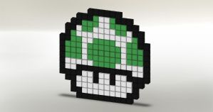 8-Bit 1-Up Mushroom by JoeCoool