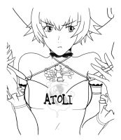 dot hack - Atoli - Catherine (game) parody lineart by Quicksolver