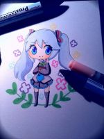 Miku traditional chibi: Hello Planet by the-electric-mage