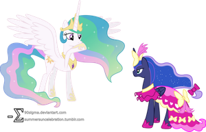 Princess Luna Tries to Confront Princess Celestia by 90Sigma