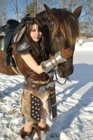 Dragonborn and Her Horse 3 by cloudstrife597