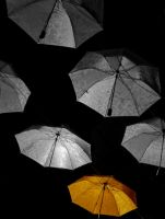 Umbrellas hangin in the air by LeMoRkofF