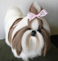 Needle Felted Shih Tzu Dog by amber-rose-creations